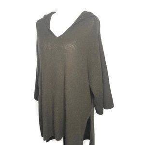 Halogen Green Hooded 100% Cashmere Sweater